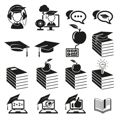 school test: education icons set