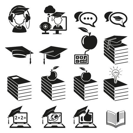 school test: education icons set