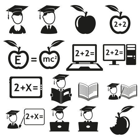 teacher students: education icons set