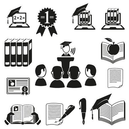 lectures: education icons set