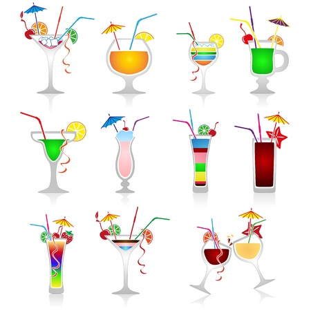 Set of cocktails on white background Vector