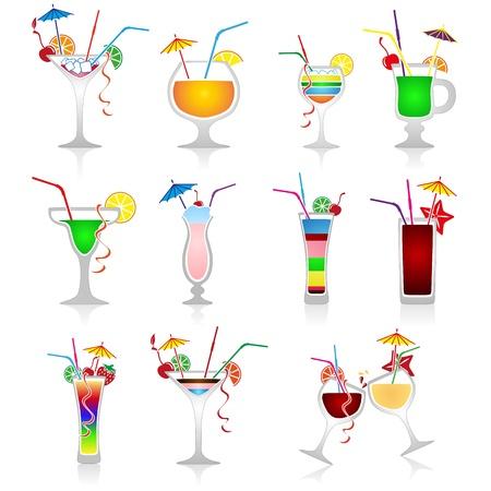 cocktail drinks: Set of cocktails on white background Illustration