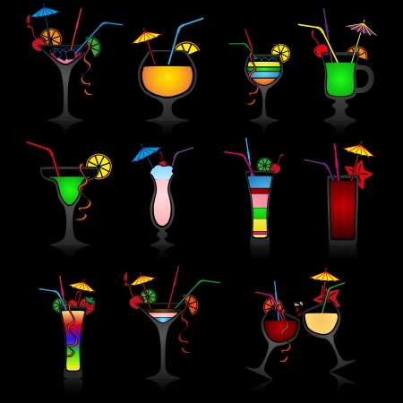 Set of cocktails on black background Vector