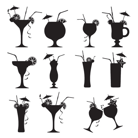 cocktail party: Set of cocktails  on white background Illustration