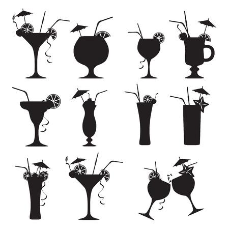 Set van cocktails op een witte achtergrond