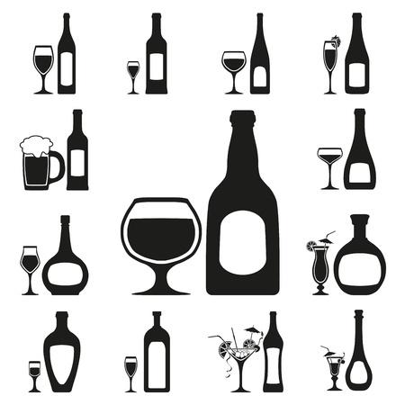 brandy glass: glass and bottle set