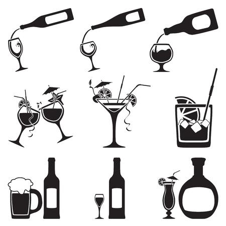 whiskey: Стекло и бутылка набор Иллюстрация
