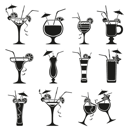 food and drink holiday: Set of cocktails on white background Illustration