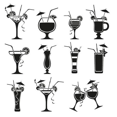 Set of cocktails on white background Illustration