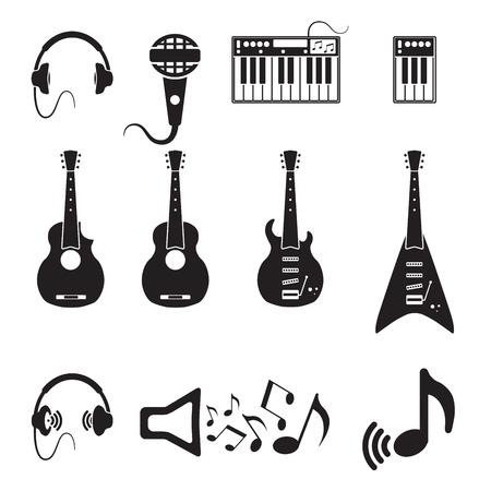pictogrammes musique: Ensemble d'ic�nes vectorielles musique noire Illustration