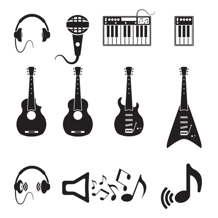 acoustic: Set of vector black music icons Illustration