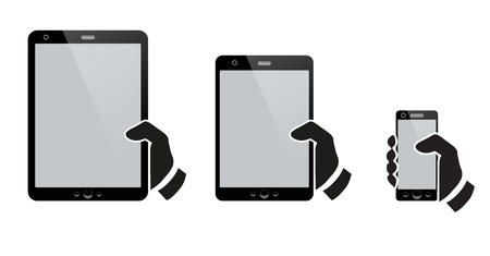 smartphone business: Hands holding a tablet with isolated screen Illustration