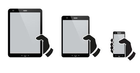 smartphone mano: Mani in possesso di un tablet con schermo isolato Vettoriali
