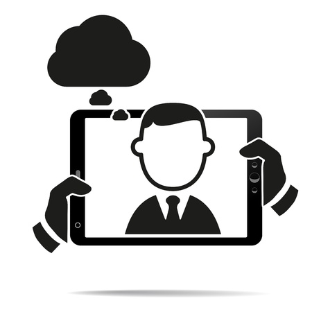 touchpad: Hands holding a tablet with isolated screen Illustration