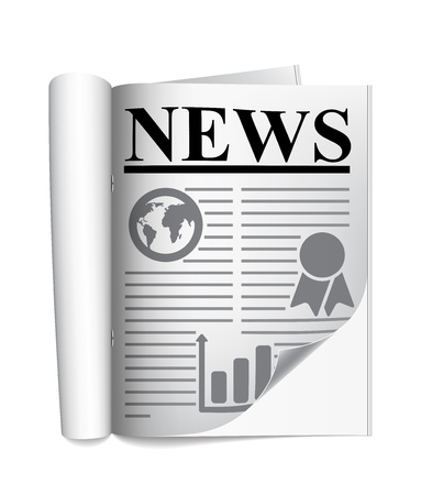 Newspaper on a white background Stock Vector - 18984004