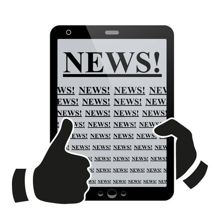 Hands holding tablet pc with news Stock Photo - 18984009