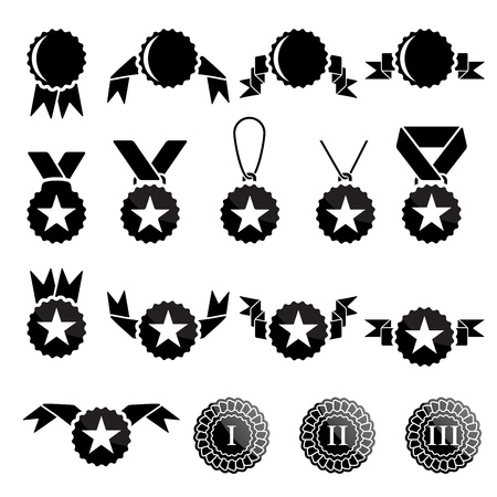 rank: Black trophy and awards icons set Illustration