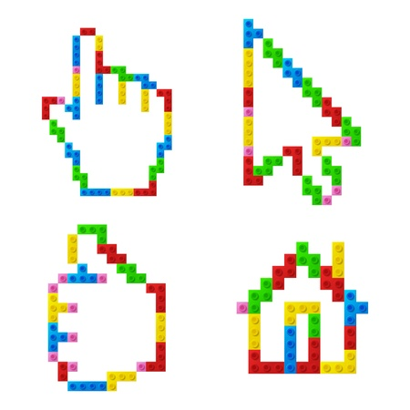 Set of icons from plastic toy blocks Illustration