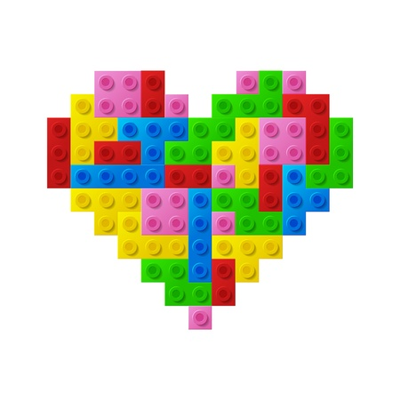 Heart from plastic toy blocks  Иллюстрация