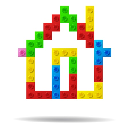 toy block: House from plastic toy blocks  Illustration