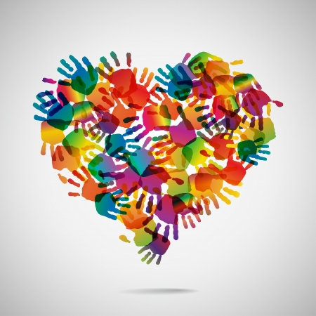 Colored heart from hand print icons Vectores