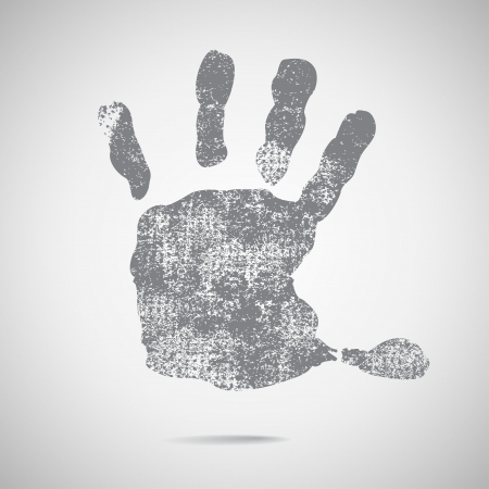 mural: grey hand Print icon on white background