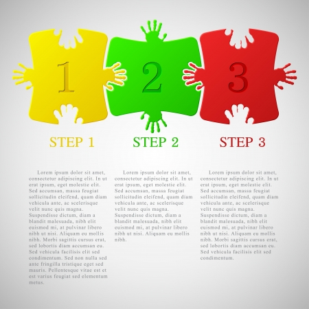 web 2: One two three - progress icons Illustration