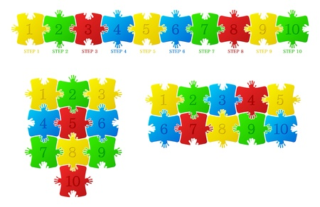 Construction of the puzzle on a white background Vector