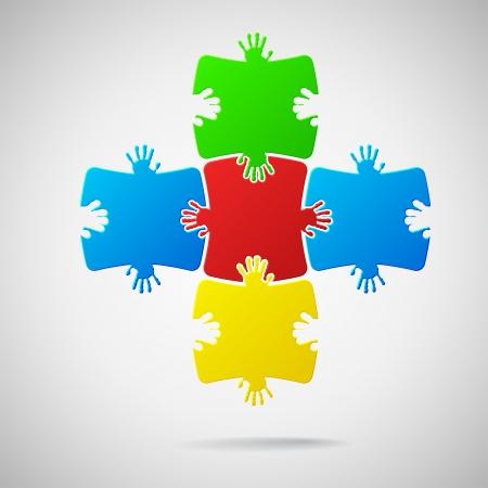 jigsaws: Di puzzle colorato Vettoriali