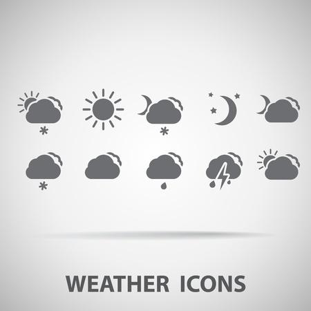 dia y noche: Conjunto de iconos del tiempo - silueta