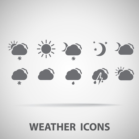 day night: Set of weather icons - silhouette