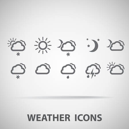 night and day: Set of weather icons - silhouette