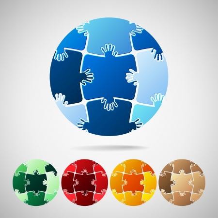 erde h�nde: Planet Erde aus Puzzleteile