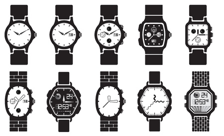 wristwatch: Icon set clocks Illustration