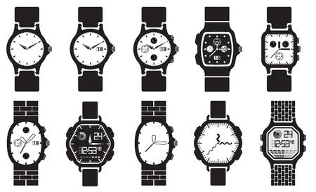 orologio da polso: Set di icone orologi Vettoriali
