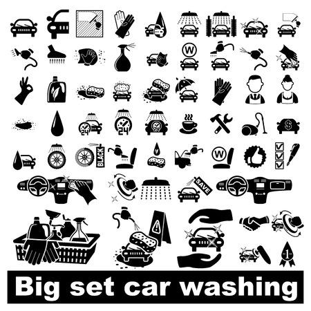auto illustratie: Wasstraat pictogrammen instellen op wit - vector illustratie