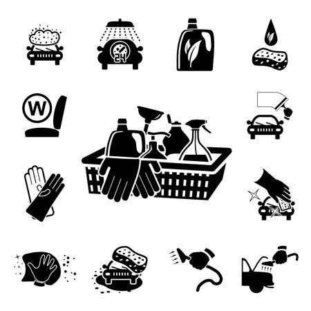 sponges: Car wash icons set on white - vector illustration