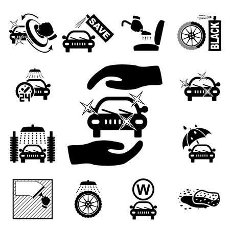 shiny black: Car wash icons set on white - vector illustration