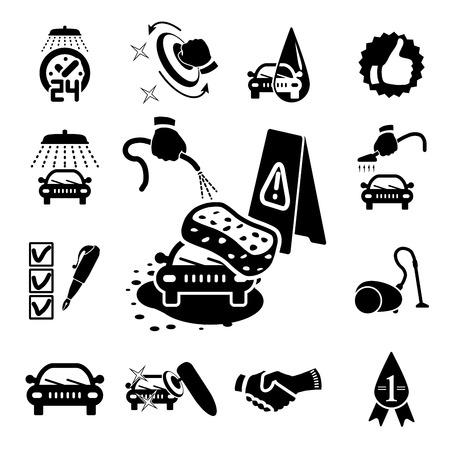 vacuuming: Icone di lavaggio auto impostato su bianco - illustrazione vettoriale