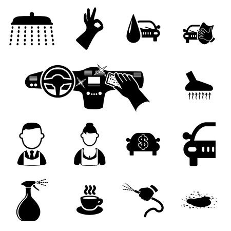 Car wash icons set on white - vector illustration Vector