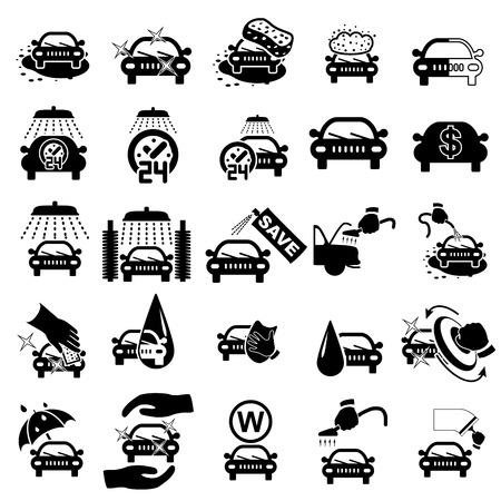 autolavaggio: Icone di lavaggio auto impostato su bianco - illustrazione vettoriale