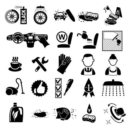 Car wash icons set on white - vector illustration