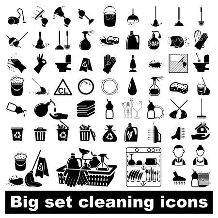 lavar platos: Iconos de establecen Limpieza ilustraci�n vectorial sobre fondo blanco