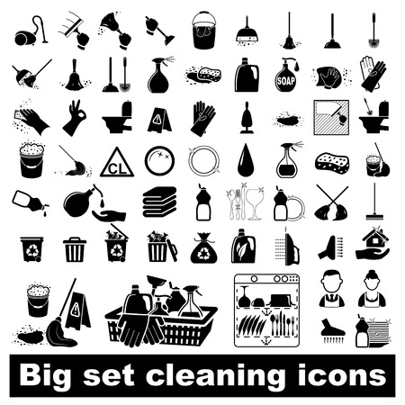 mop: Icons set Cleaning  Vector illustration  on white background