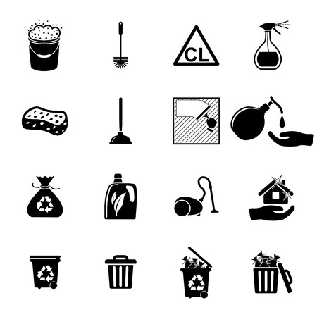 vacuuming: Icons set Cleaning  Vector illustration  on white background