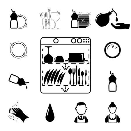 lavar trastes: Iconos de establecen Limpieza ilustración vectorial sobre fondo blanco