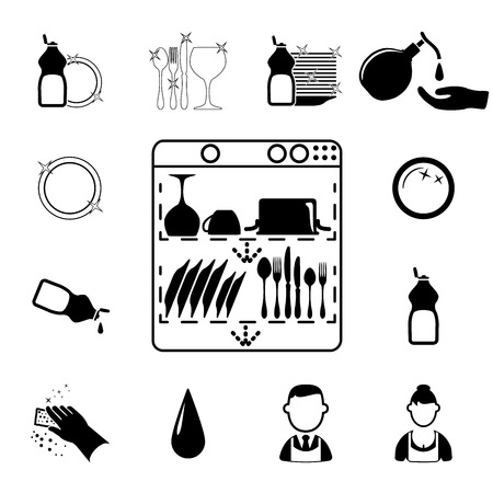 dishes set: Icons set Cleaning  Vector illustration  on white background