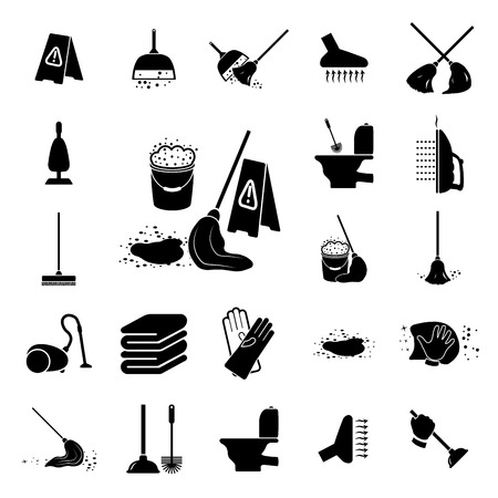 uso domestico: Set di icone di pulizia Illustrazione vettoriale su sfondo bianco