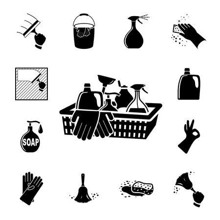 piso negro: Iconos fijados ilustraci�n vectorial de limpieza en el fondo blanco Vectores