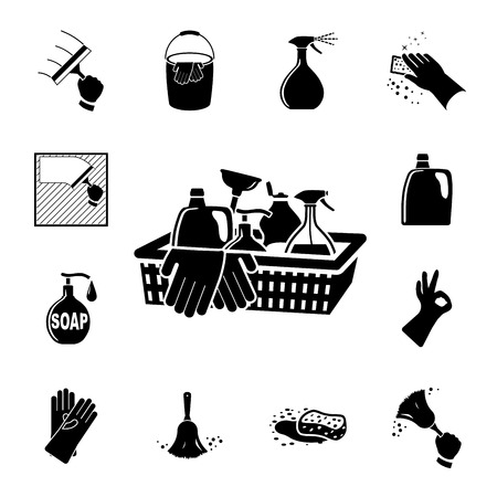 washing symbol: Icons set Cleaning  Vector illustration  on white background